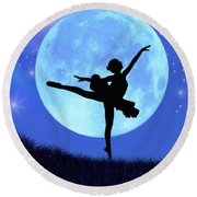 Blue Moon Ballerina Round Beach Towel