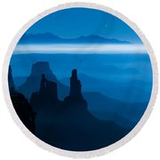 Blue Moon Mesa Round Beach Towel