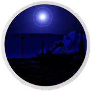 Blue Moon Over Baltimore Round Beach Towel