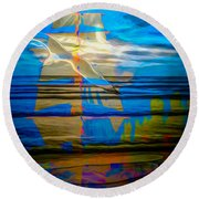 Blue Moonlight With Seagull And Sails Round Beach Towel