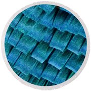 Blue Morpho Wing Scales Round Beach Towel