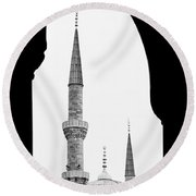 Blue Mosque 01 Round Beach Towel