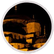 Blue Mosque At Night 02 Round Beach Towel