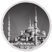 Blue Mosque Black And White Round Beach Towel