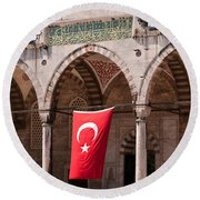 Blue Mosque Courtyard Portico Round Beach Towel