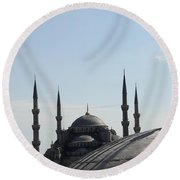 Blue Mosque Dome Behind Hagia Sophia Dome Round Beach Towel