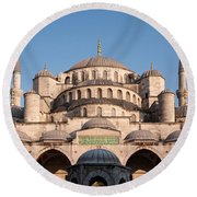 Blue Mosque Domes 01 Round Beach Towel