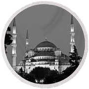 Blue Mosque In Black And White Round Beach Towel