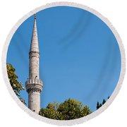 Blue Mosque Minaret 01 Round Beach Towel