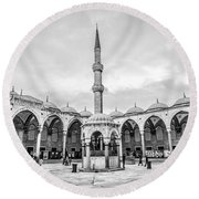 Blue Mosque Minaret Round Beach Towel