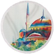 Blue Mosque Sun Kissed Domes Round Beach Towel