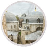 Blue Mosque View From Hagia Sophia Round Beach Towel