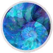Blue Nautilus Shell By Sharon Cummings Round Beach Towel