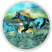 Blue Ocean Horses Round Beach Towel