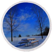 Blue On A Snowy Day Round Beach Towel