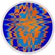 Blue Orange Abstract Round Beach Towel