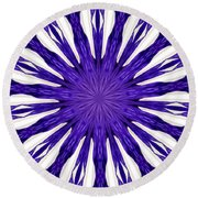 Blue Orchid Sunburst Kaleidoscope Round Beach Towel