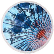 Blue Ornamental Thai Umbrella Round Beach Towel