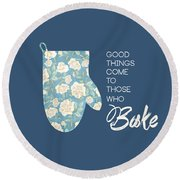 Blue Oven Mitt Round Beach Towel by Nancy Ingersoll