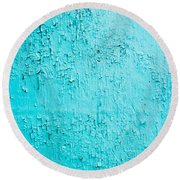 Blue Paint Background Grungy Cracked And Chipping Round Beach Towel
