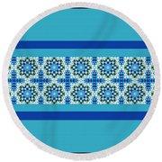 Blue Patchwork 2 Round Beach Towel
