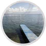 Blue Pier At Lake Ohrid Round Beach Towel