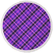 Blue Pink And Black Diagnal Plaid Cloth Background Round Beach Towel
