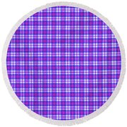 Blue Pink And White Plaid Cloth Background Round Beach Towel