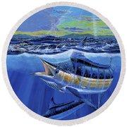 Blue Pitcher Off00115 Round Beach Towel by Carey Chen