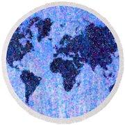 Blue Pointillist World Map Round Beach Towel