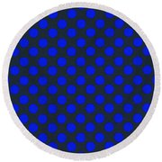 Blue Polka Dots On Black Textile Background Round Beach Towel