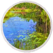 Blue Pond And Water Lilies Round Beach Towel