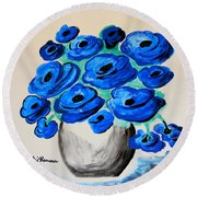 Blue Poppies Round Beach Towel by Ramona Matei