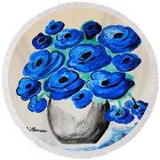 Blue Poppies Round Beach Towel