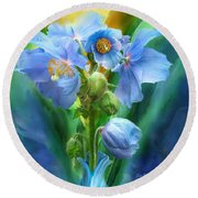 Blue Poppy Bouquet - Square Round Beach Towel