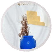 Blue Pot In Oia Town Round Beach Towel