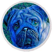 Blue Pug Round Beach Towel