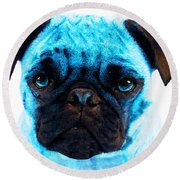 Blue - Pug Pop Art By Sharon Cummings Round Beach Towel