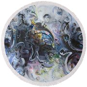 Blue Purple Abstract Movement Art Round Beach Towel