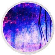 Blue Purple White Metal Round Beach Towel