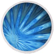 Blue Rays Round Beach Towel