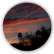 Blue Red And Gold Sunset With Streak Round Beach Towel