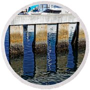 Blue Reflections Round Beach Towel