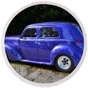 Blue Restored Willy Car Round Beach Towel