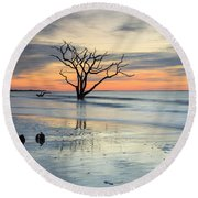 Blue Reverence Charleston Sc Ocean Sunrise Round Beach Towel