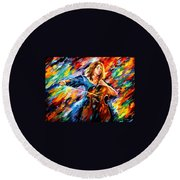 Blue Rhapsody - Palette Knife Oil Painting On Canvas By Leonid Afremov Round Beach Towel