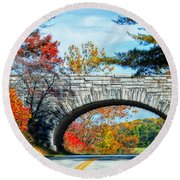 Blue Ridge Autumn Bridge Round Beach Towel