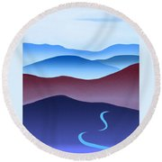 Blue Ridge Blue Road Round Beach Towel by Catherine Twomey