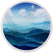 Blue Ridge Blue Skyline Sheep Cloud Round Beach Towel
