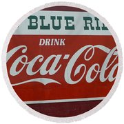 Blue Ridge Coca Cola Sign Round Beach Towel
